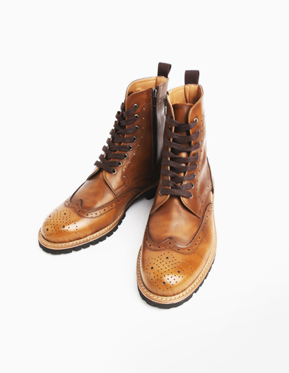 [TWOSIDE] Miller Classic Wingtip Boots(Brown)
