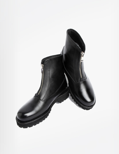 [TWOSIDE] Black Chic Zipper Boots(BLACK)